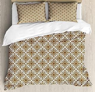Ethnic Duvet Cover Set,Thai Mosaic Art Culture Abstract Lines Dots Pattern Folk Design,Decorative 3 Piece Bedding Set with 2 Pillow Shams,King Size,Redwood White