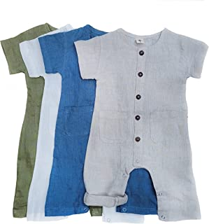 Baby Boy Linen Romper Button Front Jumpsuit short sleeve with leg snaps Rustic Vintage Photography Clothes