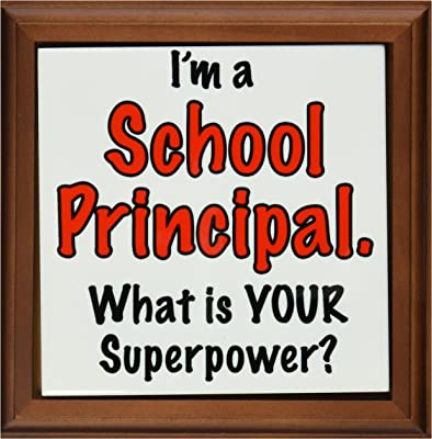 """3dRose ft_193262_1 I'm a School Principal What is Your Superpower Red Framed Tile, 8 by 8"""""""