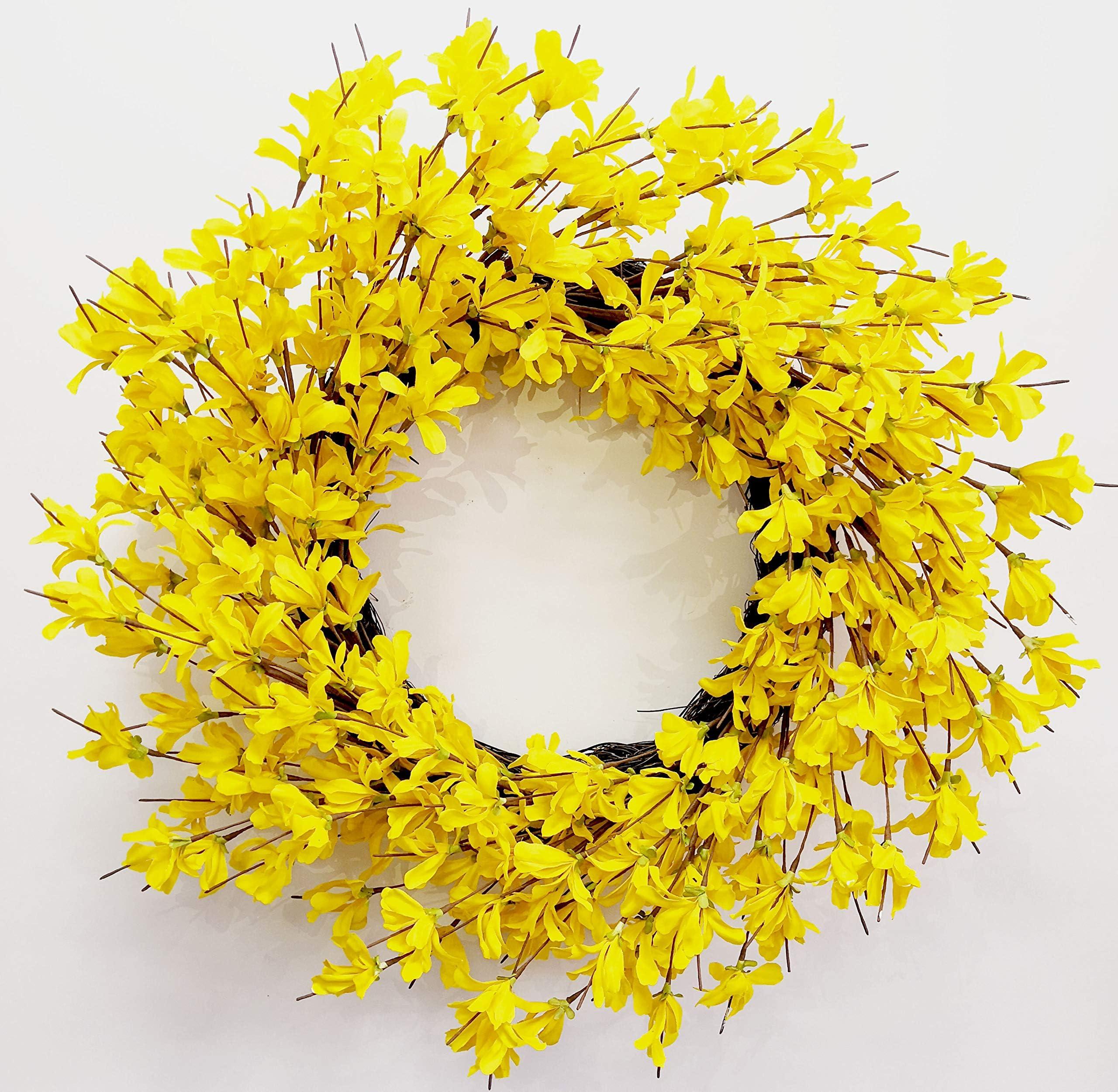 Yellow Forsythia Wreath Gift. Summer Wreath Yellow Wreath Front door Wreath Grapevine Wreath Spring Wreath Spiral Wreath