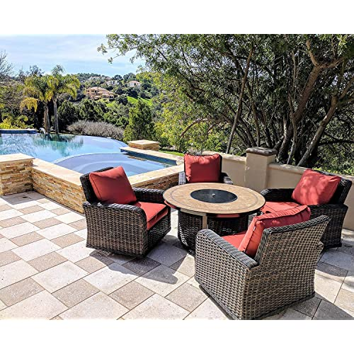 0c18ec9ddb19 Kinger 5 Piece Round Propane Gas Fire Pit Table Patio Conversation Set, Red  Outdoor Cushions
