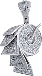 Saris and Things 925 Sterling Silver Mens Round Cubic Zirconia CZ Money Roll Cluster Fashion Pendant Charm
