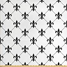 Ambesonne Fleur De Lis Fabric by The Yard, Checkered Dotted Pattern with Monochrome Abstract Lily Flower Revival, Decorative Fabric for Upholstery and Home Accents, 1 Yard, White and Black