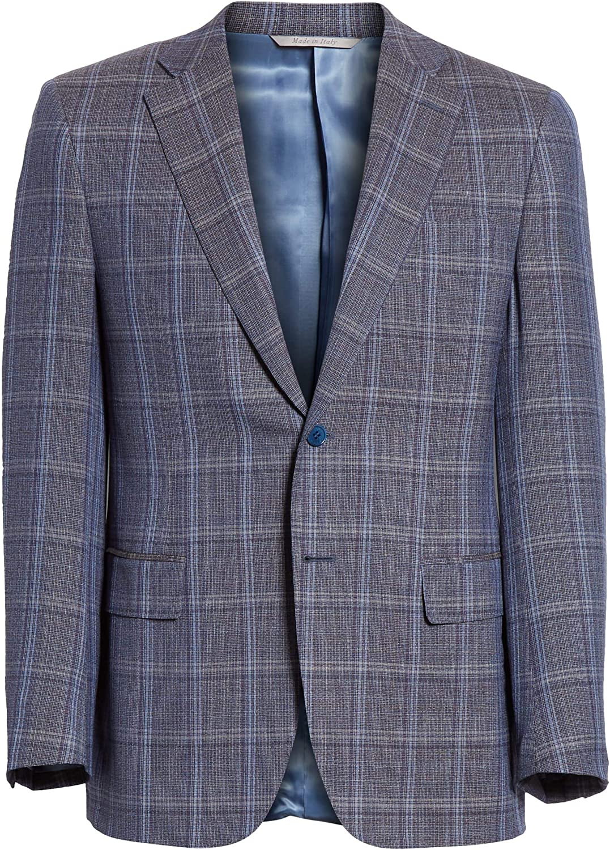 Canali New Men's Siena Classic Fit Plaid Wool Travel Sport Coat, Size 40 US / 50 EU R - Blue