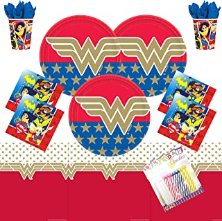 Wonder Woman Super Hero Girls Party Supplies Pack Serves 16: Plates Napkins Cups and Table Cover with Birthday Candles (Bundle for 16)