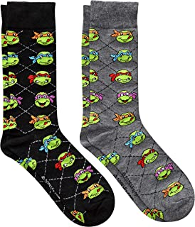 Hyp Teenage Mutant Ninja Turtles TMNT Argyle Men's Crew Socks 2 Pair Pack