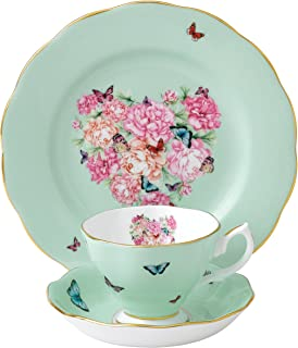 Royal Albert Blessings 3-Piece Teacup, Saucer and Plate Set Designed by Miranda Kerr,Sage green with multicolor print