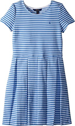 Polo Ralph Lauren Kids Striped Pleated Ponte Dress (Big Kids)