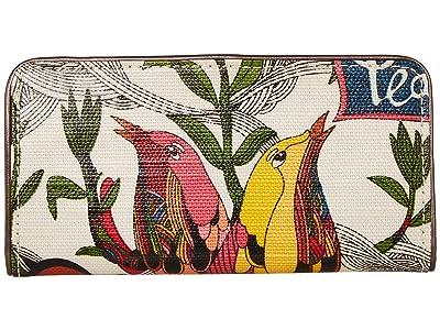 Sakroots Artist Circle Slim Wallet (White Peace) Wallet Handbags