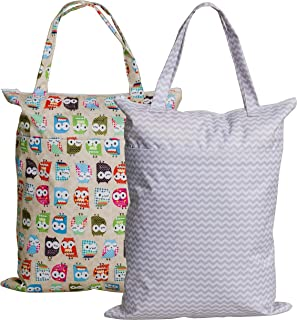 Zippered Hanging Wet Dry Bag with Snap Tote Handle for Reusable Cloth Diapers, Swimsuits, Laundry, Medium
