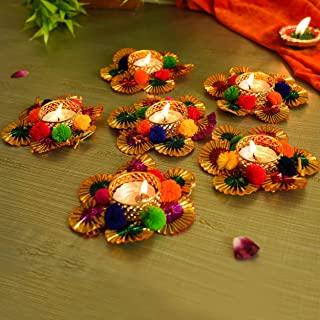 Tied Ribbons Flower Studded Tealight Candle Holders for Diwali Decoration (Pack of 6) - Diwali Decorations and Diwali Gifts