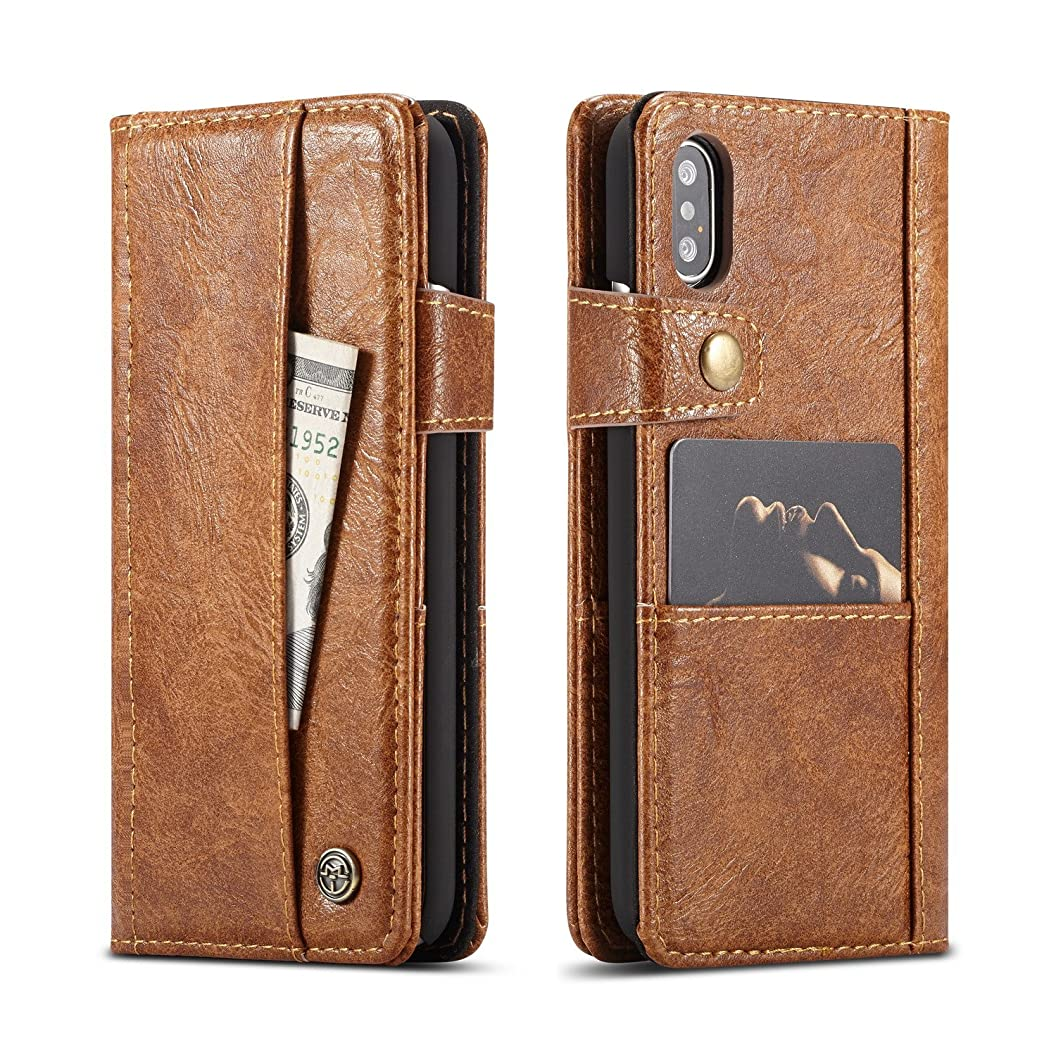 iPhone X Wallet Case, SAVYOU Retro Style Slim Flip Folio Wallet Leather Business Credit Card Slot Holder Case Protective Skin Cover for Apple iPhone X 5.8inch Brown nsledzxupjx85