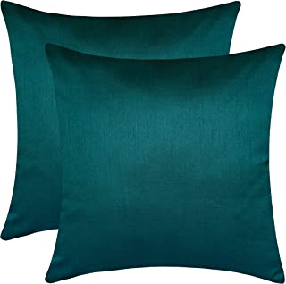 The White Petals Set of 2 Dark Teal Sham Covers, Plain Silk Sham Cover, Solid Decorative Sham, Accent Sham, Dark Teal Euro Sham Cover, (26x26 inches, Dark Teal)