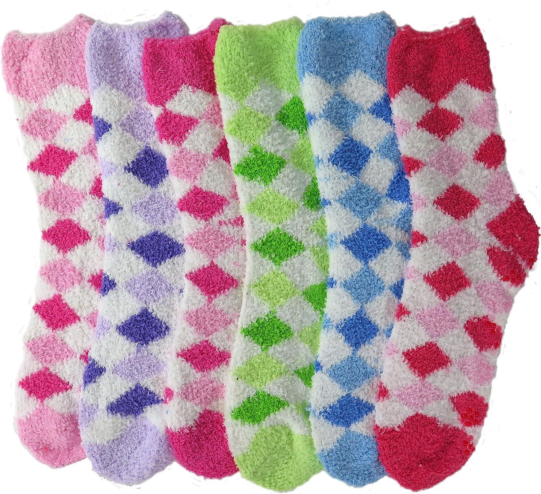 DEBRA WEITZNER Womens Bright Fuzzy Socks Nonskid Grip Ultra Soft 6pairs