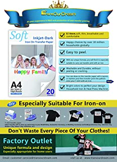 TransOurDream Tru-Transfer Paper TRANS-07 Inkjet Iron On Transfer Paper for Dark T Shirts Fabrics 20 Sheets A4 Size Moms Choice,NO Peeling NO Cracking NO Fading,DIY Special Day Gifts