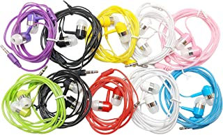 10 Pack EarBud Headphones Bulk (G14), Multi Colors Wired Earphones Wholesale Accessory Compatible With Smart Mobile Phone ...