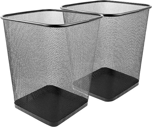Greenco Mesh Wastebasket Trash Can Square 6 Gallon Black 2 Pack