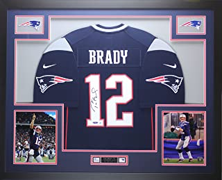 Tom Brady Autographed Blue Nike Patriots Jersey - Beautifully Matted and Framed - Hand Signed By Tom Brady and Certified Authentic by Tristar - Includes Certificate of Authenticity