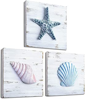 Best TideAndTales Beach Theme Seashell Wall Decor (Set of 3) | Shells and Starfish Beach Decor for Bathroom, Bedroom or Living Room | Rustic Coastal Decor | Ocean Inspired Beach Decorations for Home Review