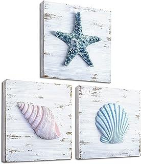 TideAndTales Beach Theme Seashell Wall Decor (Set of 3) | Shells and Starfish Beach Decor..