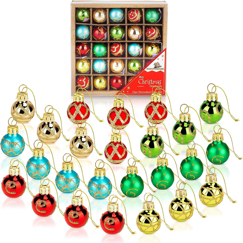 Buy 20 Inch Mini Vintage Multi Color Glass Ball Christmas Ornaments ...