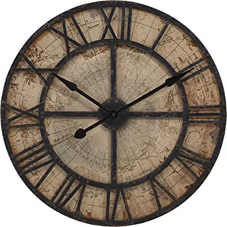 IMAX 18308 Bryan Map Wall Clock - Oversized Wall Clock, Vintage Inspired Quartz Clock, Analogue Wall Decor for Hotel, Living Room, Dining Room. Home Decor Accessory