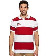 U.S. POLO ASSN. - Slim Fit Color Block Short Sleeve Pique Polo Shirt
