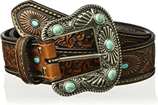 Nocona Belt Co. Women's Scroll Embossed Painted Turquoise Oval Belt