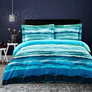 MILDLY Bedding Duvet Cover Sets King Size, 100% Egyptian Cotton Duvet Cover with Zipper Closure and 2 Pillow Shams, River Scenery with Trees and Mountains Surrounded Pattern Printed,Meryl