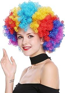 WIG ME UP- PW0011 Peluca Afro Gigantesca XXL Carnaval Halloween, Colores del Arco Iris, años 70 Hippie, Disco, Payaso bufón