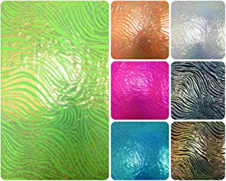 Zebra Holographic Foil Pattern on Stretch Lightweight Knit Jersey Polyester Spandex Fabric By the Yard (Neon Lime/Gold)