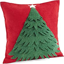 Arcadia Home Handmade Christmas Pillow in Hand Felted Wool-Tree on Red-20 Decorative Pillow, Multi