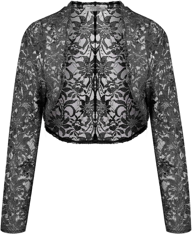 Bifast Women Lace Sweater Long Sleeves Lace Crochet Bolero Crop Cardigan Shrug Top Cardigan SXXL