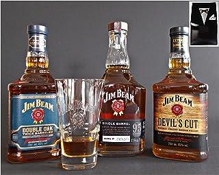 3 Flaschen Jim Beam Bourbon Whiskey : Devil`s Cut, Double Oak und Single Barrel  Original Glas im Smoking