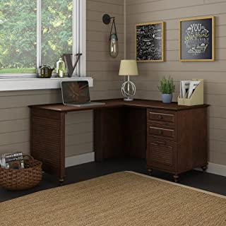 kathy ireland Home by Bush Furniture Volcano Dusk L Shaped Desk with 3 Drawer Pedestal in Coastal Cherry