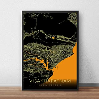 Recollection Visakhapatnam City Map Art Print Poster 12 x 18 inch Wall Decor for Home Office Restaurant Hotel Interior Dec...