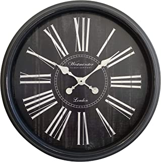 Decorative Extra Large Wall Clock (Oversized 30 Inch) - Perfect Vintage Living Room Wall Decor - Distressed Wood Finish - Big Roman Numeral Analog Display - Non-Ticking and Battery Operated (Black)