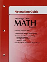 Math, Grades 6-8 Course 1 Notetaking Guide: McDougal Littell Middle School Math (McDougal Littell Math Course 1)