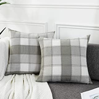 AmHoo Pack of 2 Farmhouse Plaid Check Throw Pillow Covers Set Case Cotton Linen Decorative Pillowcases Cushion Cover for Couch Bench Sofa 16x16Inch Light Grey