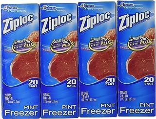 Ziploc Freezer Bags - Pint, 20 Count (Pack of 4)