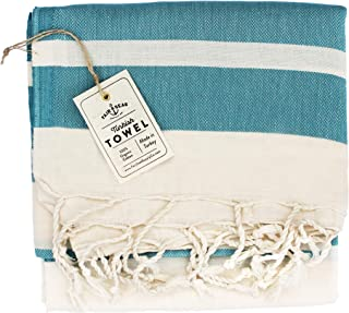 "Fair Seas Supply Co. Turkish Towel, Peshtemal Towel - 100% Organic Turkish Cotton - Quick Dry and Lightweight, 39"" x 71"" Large (Caribbean Blue)"