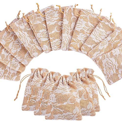 ac92973fa951 Whaline 20 Packs Rose Lace Burlap Bags with Drawstring Gift Bags Jewelry  Pouch for Wedding and