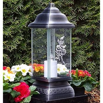 Grablicht Grablaterne schwarz Lampe Grableuchte Glas Grabschmuck Kerze Laterne