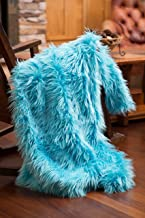 North End Decor Faux Fur, Mongolian Long Hair Turquoise Throw Blankets, 50x60 Large, Blue