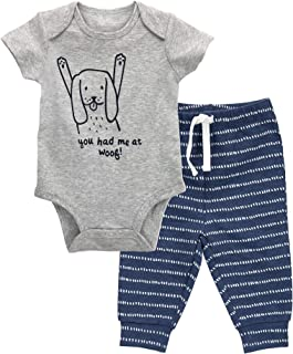 Oliver & Rain - Organic Star Graphic Bodysuit and Mini Stripe Pants Outfit Set, Dark Heather Gray/Black, NB