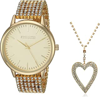 STEVE MADDEN - Juego de collar y reloj de malla con colgante de corazón para mujer (varios colores)