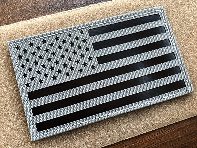 5x3 inch Large Grey Infrared IR US USA American Flag Patch Tactical Vest Patch Hook-Fastener Backing (5