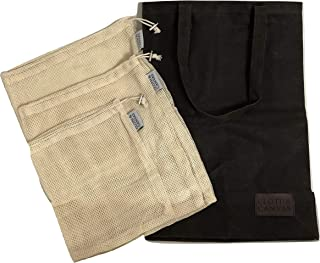 Reusable Grocery Shopping Bag made with Waxed Cotton Canvas BONUS Cotton Mesh Produce Bags   Eco Friendly   Zero Waste   Heavy Duty   Vegan   Cloth & Canvas LLC
