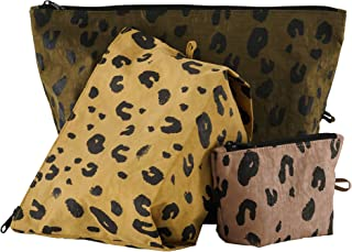 BAGGU Go Pouch Set, Expandable Nylon Zip Pouch 3 Pack for Travel and Organization, Leopard