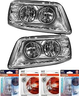 QR Parts 69584926 Set Scheinwerfer links 1005321 + Scheinwerfer rechts 1007232 + OSRAM H7 CLASSIC 64210CLC (2 Stück) + H1 Original 64150 01B (2 Stück)